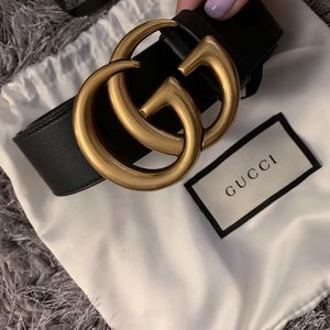 Women's Gucci Leather belt with Double G buckle